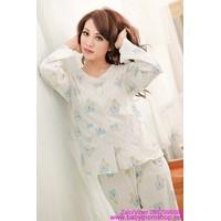 Bộ đồ ngủ quần dài tay dài kèm áo choàng họa tiết cực xinh NN321