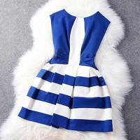 Đầm xòe phối sọc màu trắng xanh - MSP M123