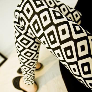 QA076.4 - Quần legging thun ô hình thoi trắng đen