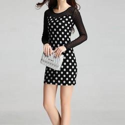 Đầm ôm ren dài tay chấm bi cao cấp  XY675