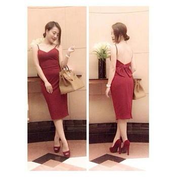 Đầm 2 dây đỏ nơ lưng - B7435