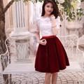 Đầm chân váy đỏ mận