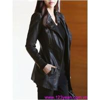 HÀNG MỚI VỀ : Áo khoác da nữ dây kéo xéo cổ trụ phong cách AK211
