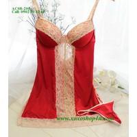 AC08 Váy ngủ gợi cảm gọng nâng ngực đỏ phối ren ánh kim sang trọng