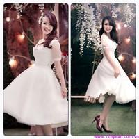 Đầm xòe tiểu thư tay phối lưới xinh xắn cho bạn gái mặc đi tiệc DM50