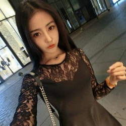 Đầm xòe dài tay phối ren, cực xinh phong cách Hàn Quốc