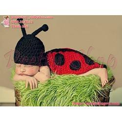BE038 bộ nón len kết hợp áo choàng con bọ rùa