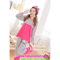 Đồ mặc nhà quần dài quần dài tay dài xám viền hồng mèo kitty NN337
