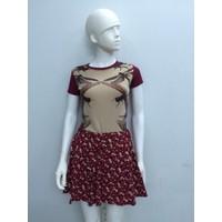 Váy thun hoa li ti xòe xinh xắn V004
