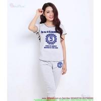 Bộ quần áo thể thao nữ lững logo 5 đáng iu năng động tSETT42