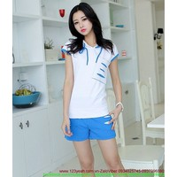 Bộ quần áo thể thao nữ short in rách sành điệu tSETT44