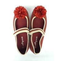 Giày búp bê vải Aqua đính hoa dành cho bé gái