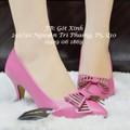 Giày cao gót đính nơ - hồng cánh sen