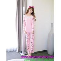 Sỉ lẻ đồ mặc nhà quần dài tay dài màu hồng chấm bi nhỏ nhiều màu NN354
