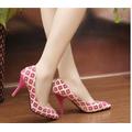 Giày cao gót họa tiết đỏ CGH - 015