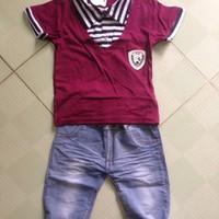 BT637 - Bộ áo thun, quần jean Hàn Quốc