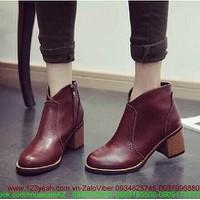 HÀNG MỚI VỀ:Giày da oxford nữ cổ cao khóa kéo cực style GUBB22