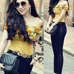 Set áo bẹt vai hoa hồng vintage quần tregging đen pha