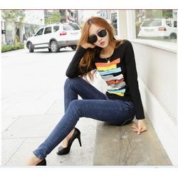 Áo thun nữ dài tay,phối họa tiết nhiều màu sắc,nổi bật trẻ trung-A2347