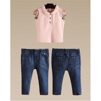 Bộ bé gái phong cách burberry quần jean áo thun cá tính