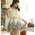 Đầm voan dập ly chân váy in hoa dễ thương