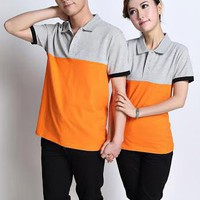 Áo thun cặp phối màu cam xám YKATC221