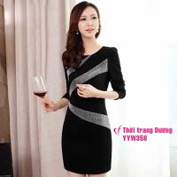 Đầm  ôm dài tay xuân thu kiểu hàn quốc YYW358