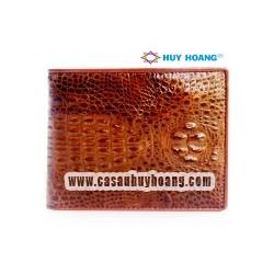 Bóp nam da cá sấu Huy Hoàng nguyên con nhỏ màu nâu