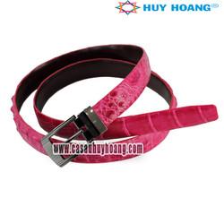 Thắt lưng nữ da cá sấu Huy Hoàng màu hồng