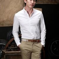 Aó sơ mi nam màu trắng trơn vải đẹp kate ý phong cách sang trọng