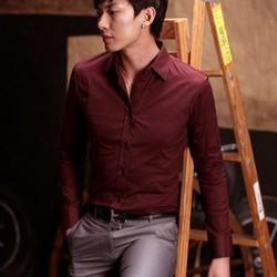 Aó sơ mi nam màu đỏ đô vải cực đẹp có thun co giản trẻ trung