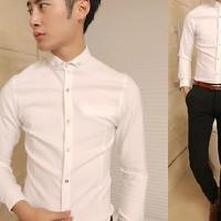 Aó sơ mi nam màu trắng trơn vải đẹp có thun co giản dành cho nam