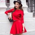Bộ đầm đỏ tay lỡ cao cấp