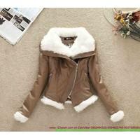 Áo khoác da cổ lông phối tay viền cho thu đông ấm áp sAKE27
