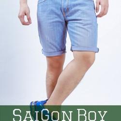 Quần short jeans nam xanh nhạt xước SJ08