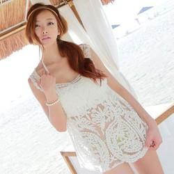 BK69 - Áo len dệt kim pha lưới khoác ngoài kèm áo ống Style Hàn