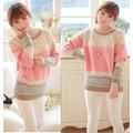 Áo len phối sọc hồng xinh xắn-A1875
