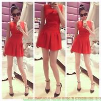 Đầm đỏ xòe nơ xinh sành điệu xuống phố zDDN5