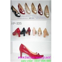 Giày cao gót phối màu đế vuông nữ tính GCGN78