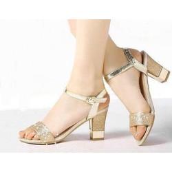 Giày cao gót gót vuông quai ánh kim