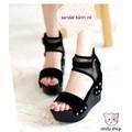 Giày sandal bánh mì phối lưới