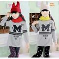 Bộ bé gái thu đông chữ M kiểu Hàn Quốc