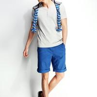 Quần kaki nam short màu xanh coban phong cách cá tính, trẻ trung