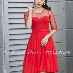 Đầm xòe vải voan đính đá, hàng thiết kế cao cấp, fom chuẩn