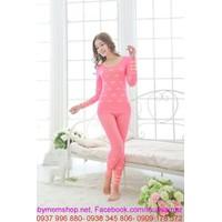 Đồ bộ mặc nhà thun cotton dày dặn màu hồng dễ thương NN371