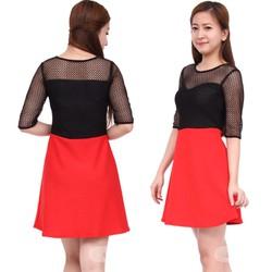 Đầm váy xòe phối ren lưới xinh tươi,gợi cảm-D1173