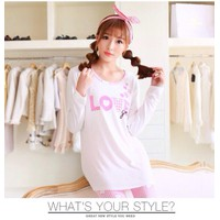 Đồ bộ mặc nhà from dài họa tiết chữ Love màu hồng cực xinh SEB179