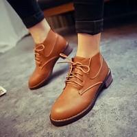 Giày boot chelsea cột dây đế thấp