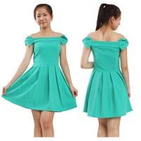 Đầm váy xòe vai rớt nơ xinh xắn-D632