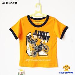 Áo thun màu nghệ viền tay hình xe môtô